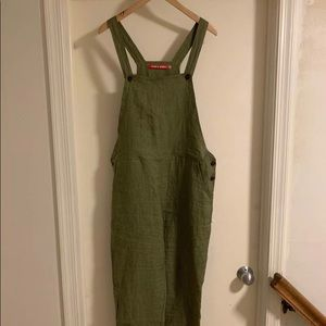 Pyne and Smith Fern Green Stripe Overalls